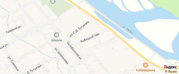 Рыбацкий переулок на карте аула Кошехабль Адыгеи с номерами домов