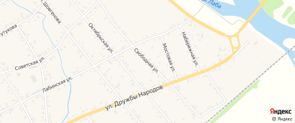 Свободная улица на карте аула Кошехабль Адыгеи с номерами домов