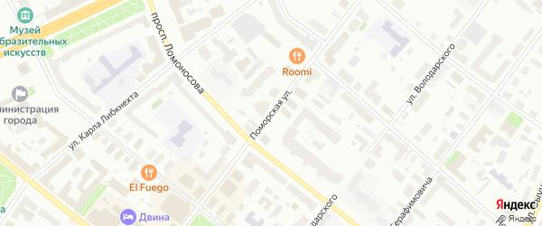 Поморская улица на карте Архангельска с номерами домов