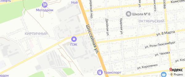 Шоссейная улица на карте Кропоткина с номерами домов