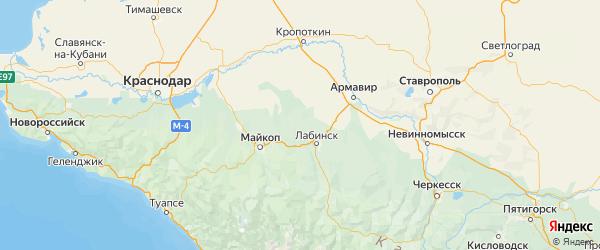 Карта Кошехабльского района республики Адыгея с населенными пунктами и городами