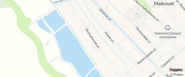 Молодежная улица на карте Майского поселка Адыгеи с номерами домов