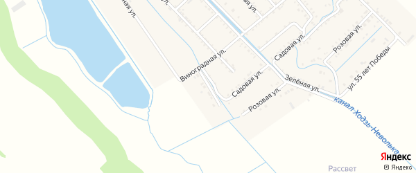 Виноградный переулок на карте Майского поселка Адыгеи с номерами домов
