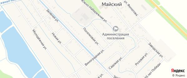 Поселковая улица на карте Майского поселка Адыгеи с номерами домов