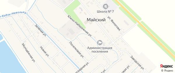 Южно-Набережная улица на карте Майского поселка Адыгеи с номерами домов