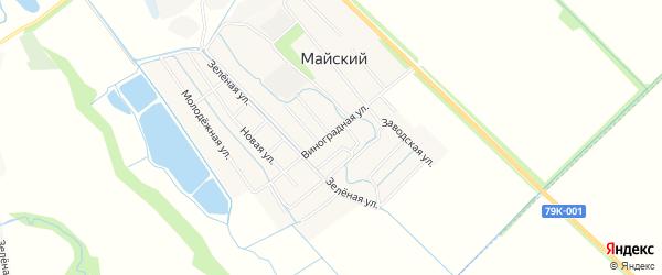 Карта Майского поселка в Адыгее с улицами и номерами домов