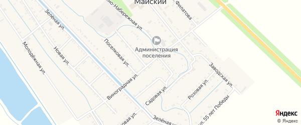 Виноградная улица на карте Майского поселка Адыгеи с номерами домов