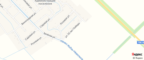 Улица 55 лет Победы на карте Майского поселка Адыгеи с номерами домов