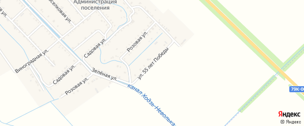 Улица 55 лет Победы на карте Майского поселка с номерами домов