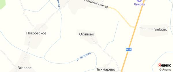 Карта деревни Осипово в Вологодской области с улицами и номерами домов