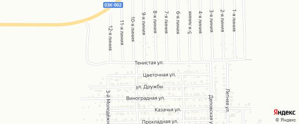 Тенистая улица на карте Кропоткина с номерами домов