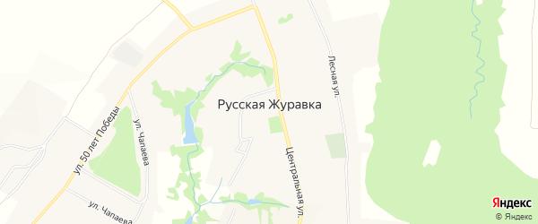 Карта села Русской Журавки в Воронежской области с улицами и номерами домов