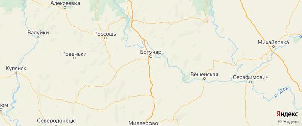 Карта Богучарский района Воронежской области с городами и населенными пунктами