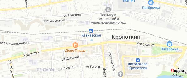 Привокзальная площадь на карте Кропоткина с номерами домов