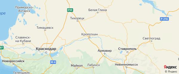 Карта Кавказского района Краснодарского края с городами и населенными пунктами