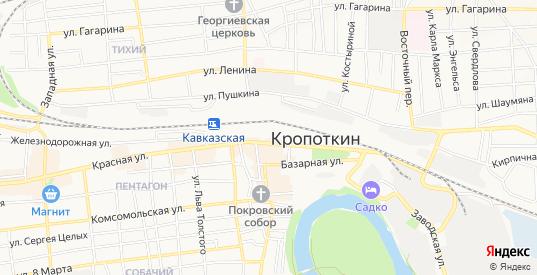 ГСК Автолюбитель на карте Кропоткина с номерами домов