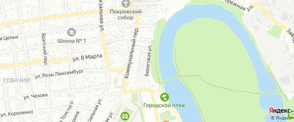 Береговая улица на карте Кропоткина с номерами домов