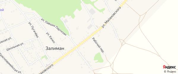 Улица Малаховского на карте села Залимана Воронежской области с номерами домов