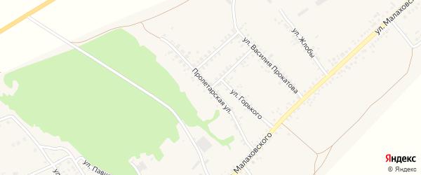 Пролетарская улица на карте села Залимана Воронежской области с номерами домов
