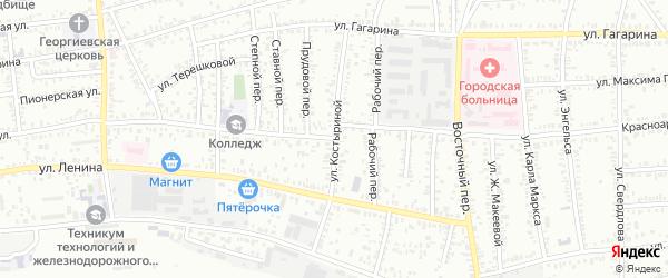 Улица Костыриной на карте Кропоткина с номерами домов