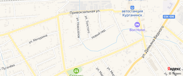 Новый переулок на карте Курганинска с номерами домов