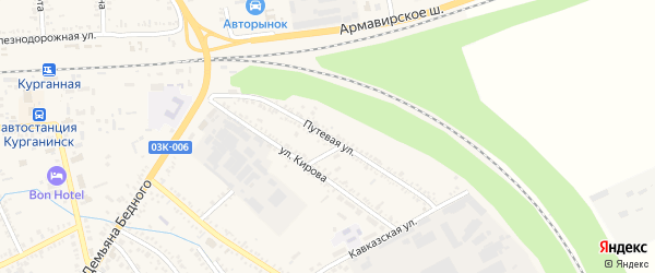 Путевая улица на карте Курганинска с номерами домов
