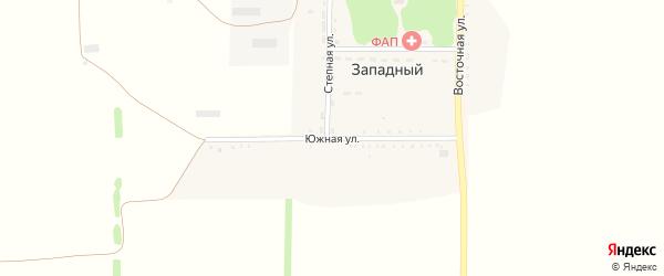 Южная улица на карте Западного поселка Краснодарского края с номерами домов