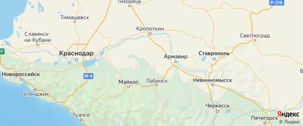 Карта Курганинского района Краснодарского края с городами и населенными пунктами