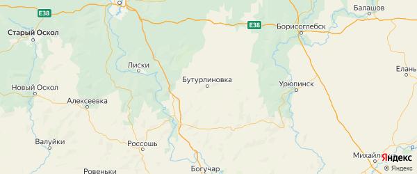 Карта Бутурлиновского района Воронежской области с городами и населенными пунктами