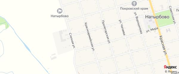 Красноармейская улица на карте села Натырбово Адыгеи с номерами домов
