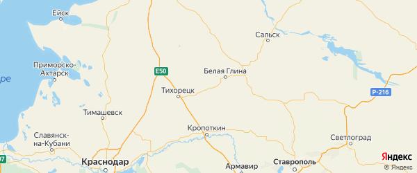 Карта Новопокровского района Краснодарского края с городами и населенными пунктами