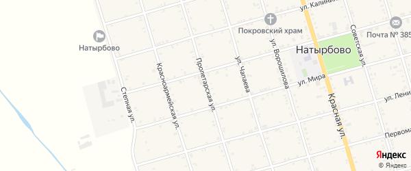 Пролетарская улица на карте села Натырбово Адыгеи с номерами домов