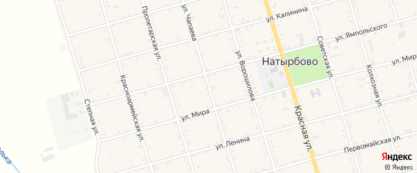 Улица Чапаева на карте села Натырбово Адыгеи с номерами домов