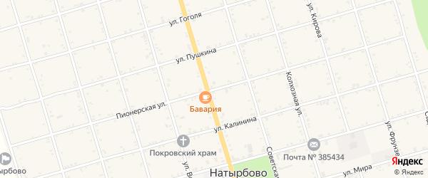 Пионерская улица на карте села Натырбово Адыгеи с номерами домов