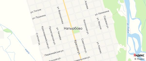 Карта села Натырбово в Адыгее с улицами и номерами домов