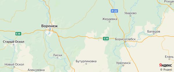 Карта Аннинского района Воронежской области с городами и населенными пунктами