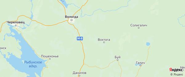 Карта Грязовецкого района Вологодской области с городами и населенными пунктами