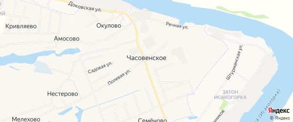Карта деревни Часовенского в Архангельской области с улицами и номерами домов