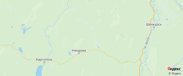 Карта Няндомского района Архангельской области с городами и населенными пунктами