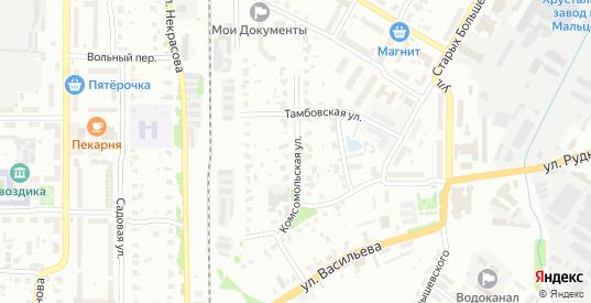 Комсомольская улица в Гусе-Хрустальном с номерами домов на карте. Спутник и схема онлайн