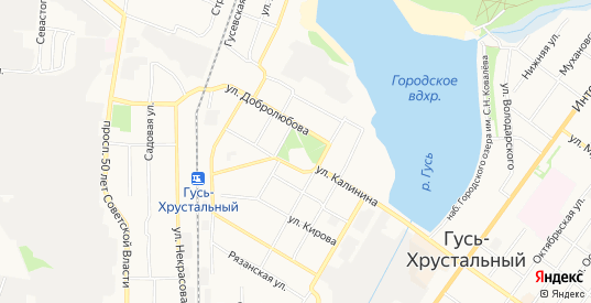 СТ Дружба на карте Гуся-Хрустального с номерами домов