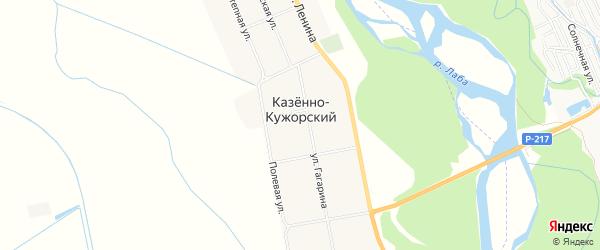 Карта Казенно-Кужорского хутора в Адыгее с улицами и номерами домов