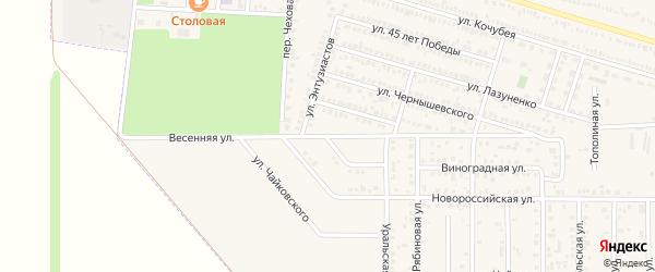 Весенняя улица на карте Гулькевичей с номерами домов