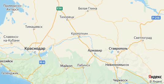 Карта Гулькевичского района Краснодарского края с городами и населенными пунктами