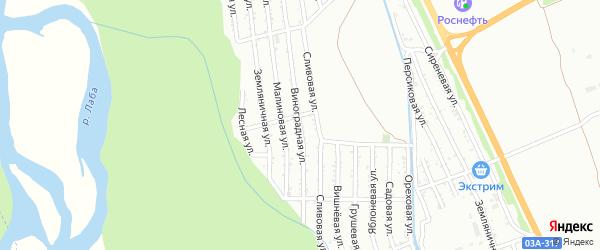 Виноградная улица на карте поселка Индустрии Краснодарского края с номерами домов