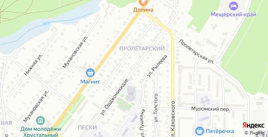 Улица Орджоникидзе в Гусе-Хрустальном с номерами домов на карте. Спутник и схема онлайн