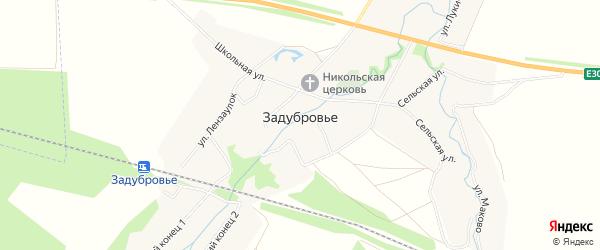 Карта села Задубровья в Рязанской области с улицами и номерами домов