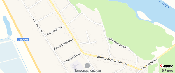 Цветочный переулок на карте Вольного села Адыгеи с номерами домов