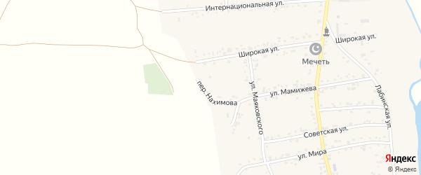 Переулок Нахимова на карте аула Ходзь Адыгеи с номерами домов