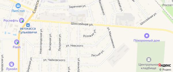 Розовая улица на карте Гулькевичей с номерами домов